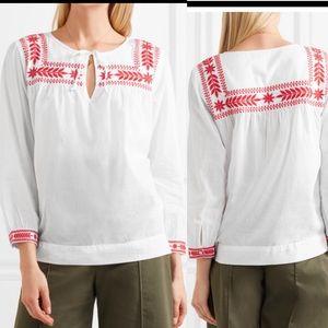 J crew folk peasant boho embroidered blouse sz xs